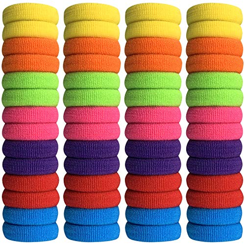 300PCS Baby Hair Ties for Baby Girls, Cotton Seamless Non Pull Elastic Hair Bands No Crease Ponytail Holders for Kids Girls, Toddlers (Assorted Colors)