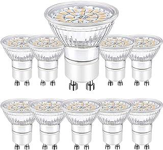 Bombillas Led GU10, Focos Led GU10 5W Equivalente a 50W Halógena Blanco Cálido 3000K Ojo de Buey AC 220-240V Bombubilla 10 Pack
