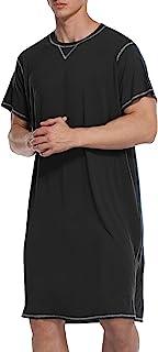 Ekouaer Sleepwear Mens Nightshirt Short Sleeve Pajamas Nightgown Night Shirts for Sleeping S-XXL