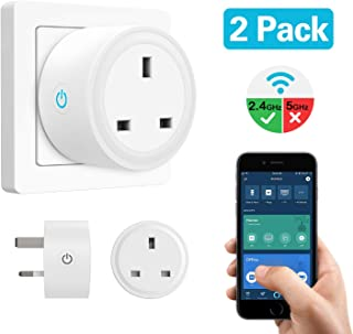 MoKo Smart Plug WiFi Socket, 2 PACK 10A Mini Smart Outlet Works with Alexa Echo Google Home IFTTT, Wireless Voice Timing Function Remote Control Timer Plug, Smart Life App No Hub Required - White