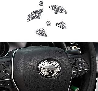 MAXMILO Car Interior Bling Accessories for Toyota Accessories Parts Yaris Corolla Camry Highlander Avalon RAV4 Steering Wheel Sign Logo 3D Rhinestone Decals Cover