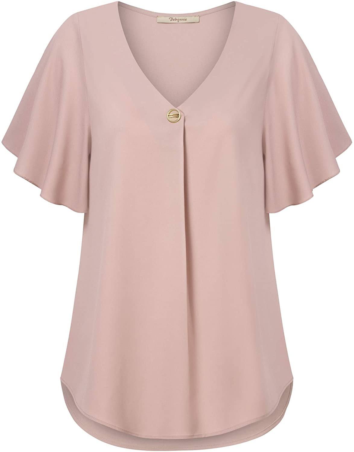 Bebonnie Womens Casual Summer Ruffle Sleeve V Neck Loose Fit Chiffon Blouse Tops