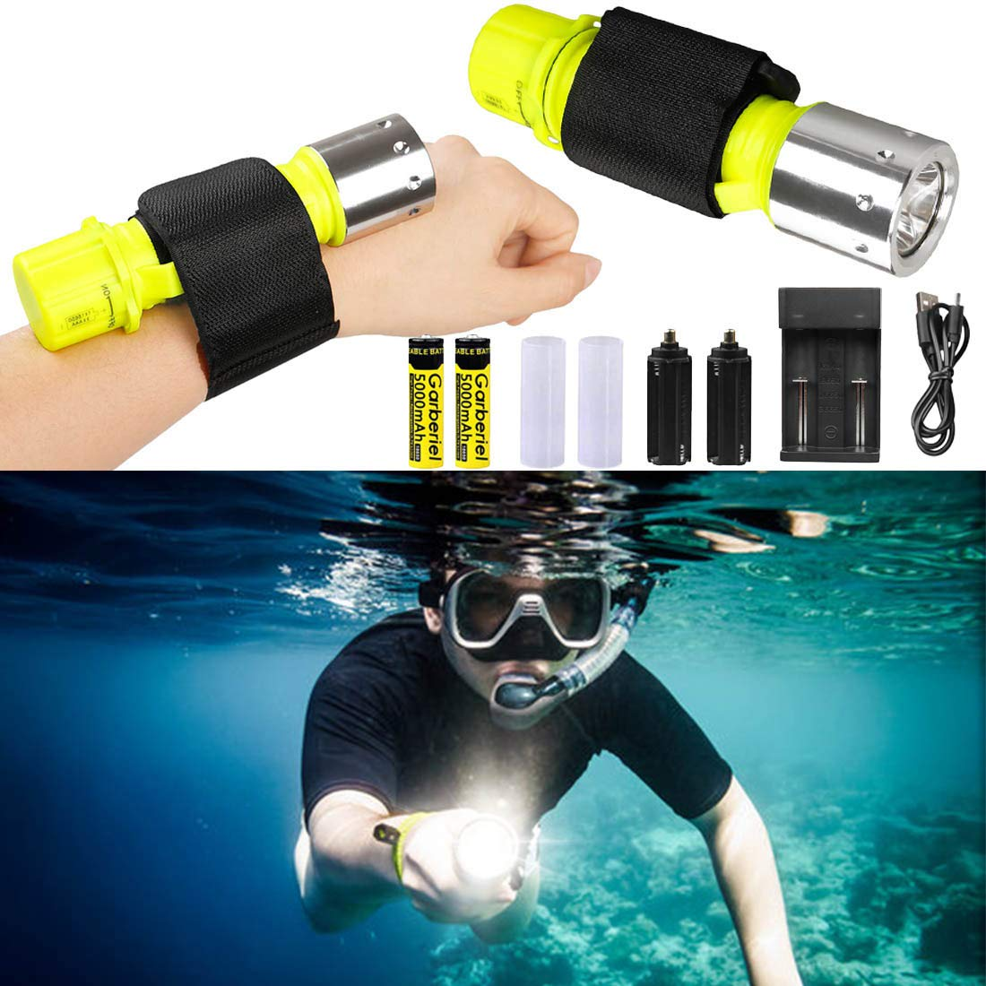 80M Underwater 1800LM CREE XM-L T6 LED 26650 Diving Flashlight Waterproof Torch