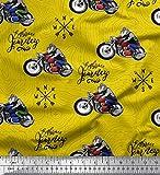 Soimoi Gelb Seide Stoff Biker, Richtung Kompass und Fahrrad