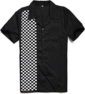 Men's 50s Male Clothing Rockabilly Style Cotton Mens Shirts Short Sleeve Fifties Bowling Casual Button-Down Shirts