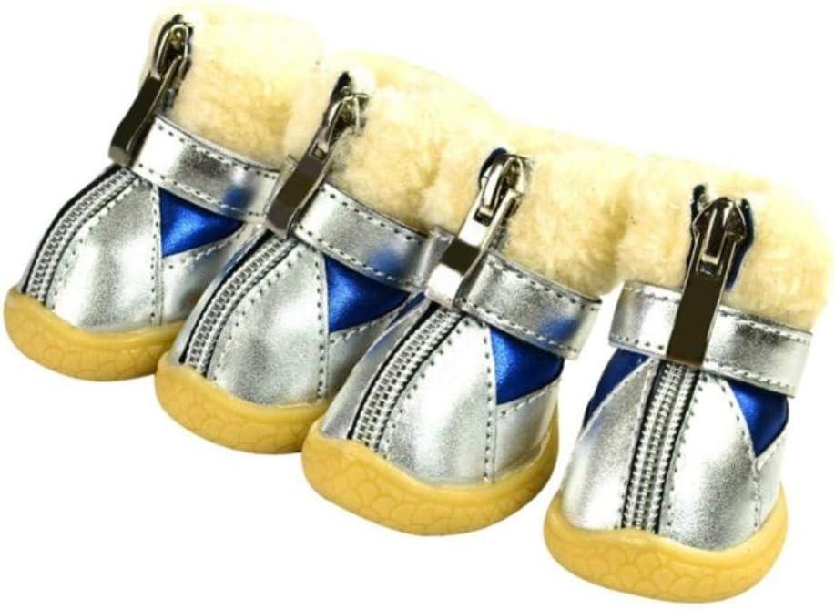 GANE unisex 4Pcs Thick Fur Dog Shoes Wa Pet Boots Anti-Slip OFFer Dog's