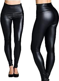 Liquid Leggings High Waist Faux Leather Leggings for Women - High Shine Yoga Leggings Snug Wrinkle Free