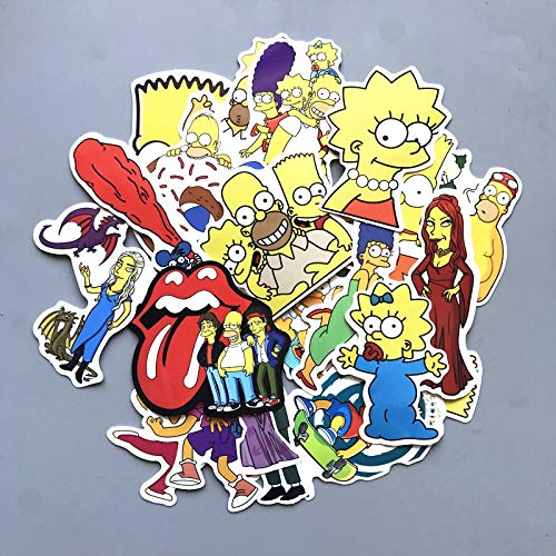 BLOUR 50 Stück Mixed Cartoon Simpsons Aufkleber für Laptop Koffer Skateboard Garderobe Wand Gitarre Moto Car Bike Kids Toy