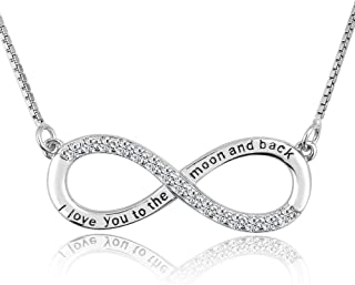 Moonlight Collections Infinity Necklace Silver Charm 925 Sterling Engraved Pendant Forever Love Sign