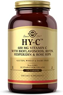 Solgar HY-C Vitamin C with Bioflavonoids Tablets, 600 Mg, 250 Count