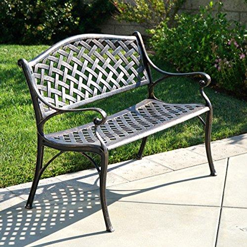 Belleze Outdoor Patio Furniture Garden Bench Cast Aluminum, Antique Copper