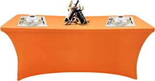 SEPARO 468FT Stretch Tablecloth Rectangular Spandex Table Cover for Outdoor Party DJ Tradeshows Banquet Vendors Weddings Celebrations, etc (Orange, 1PC 4FT)