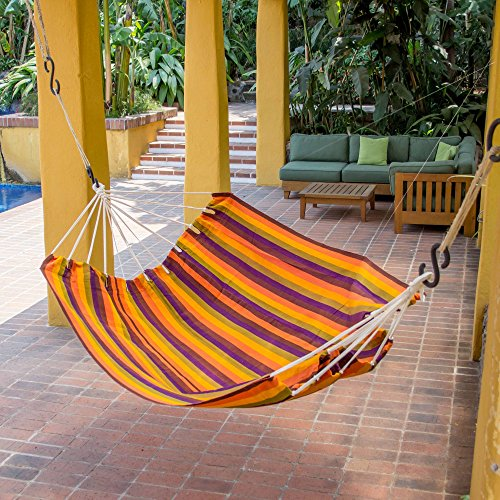 NOVICA - Hamaca de Estilo brasileño para 2 Personas, Color Rojo, Naranja y Morado, diseño de Atardecer guatemalteco (Doble)