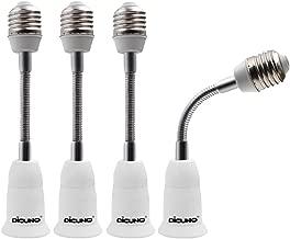 DiCUNO E26 14CM/5.5IN Socket Extender Adapter, E26 to E26 Flexible Extension, All-Directional Adjustable Standard Medium Light Bulb Socket Converter (4-Pack)