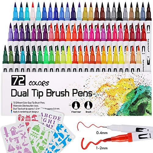 Lehoo Castle 72 colori Pennarelli a doppia punta Punta da 0,4 mm Fineliner e Punta da 1-2 mm per disegni da colorare Pittura Calligrafia, Pennarelli Calligrafia (M)