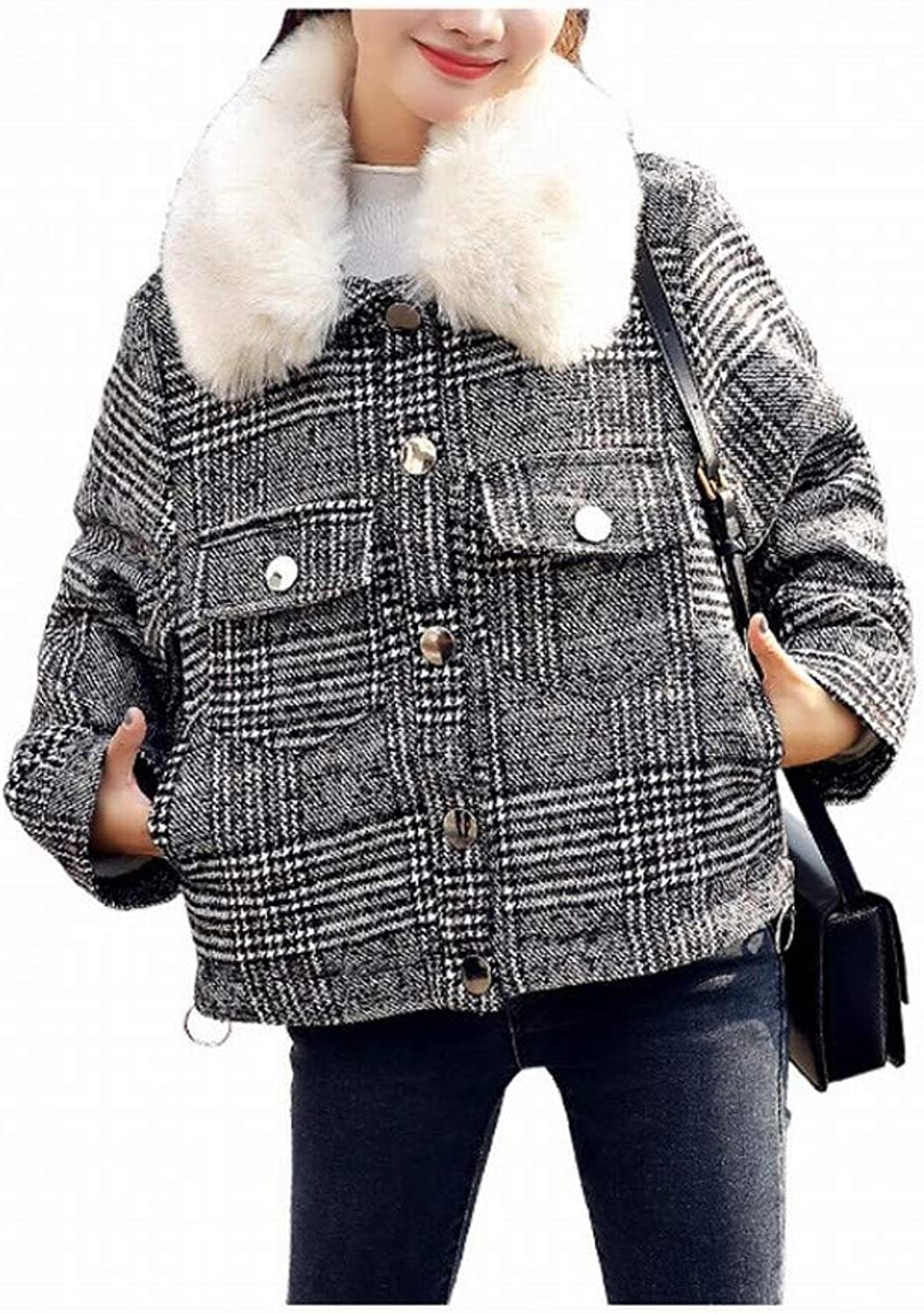 Coat Jacket, Woolen Coat, Retro Plaid Short Woolen Coat, Female Winter Small Plus Velvet Thick Woolen Coat, PLLP