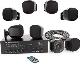 Pure Resonance Audio S3 Micro Surface Mount Speaker Bundle with MA120BT 120 Watt Bluetooth Mixer Amplifier and Speaker Wire - Restaurant Sound System (10 Items)