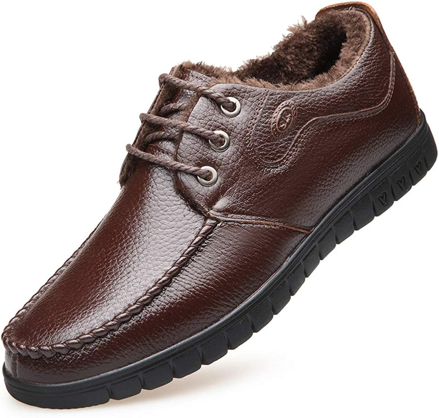 Men's Business shoes Fall Winter Casual Dad shoes Keep Warm Plus Velvet shoes Shock Absorption Leather shoes,A,41