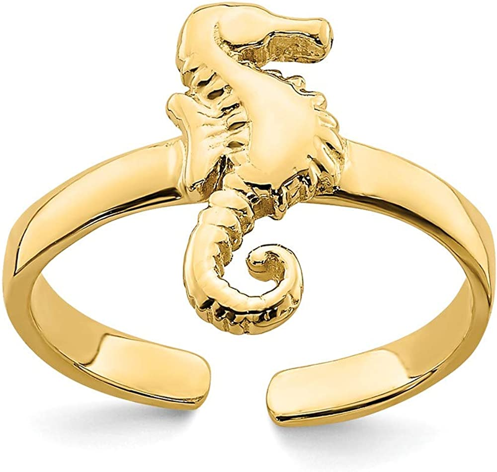 Solid 14k Yellow Gold ADJUSTABLE SEAHORSE Toe Ring Adjustable