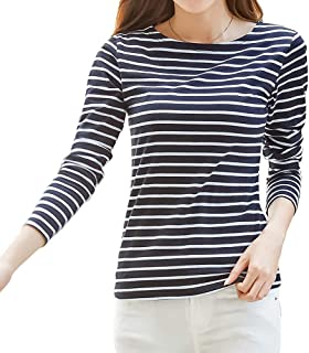 WTSHOPME Women Striped Long Sleeve T-Shirt Top Tees Blouse Size Adjusted