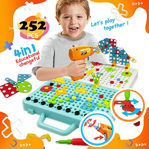 EARSOON Building Block Games Set with Drill & Screwdriver Tool (Screwdriver Buildings), Develop 3D Imagination Puzzle Construction Games, Educate Fine Motor Skills for 4-12 Year Old Boys & Girls