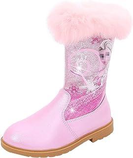 LOBTY filles bottes princesse bottes enfants chaussures d'hiver fourrure paillettes ruban strass arc cadeaux chaleur doubl...