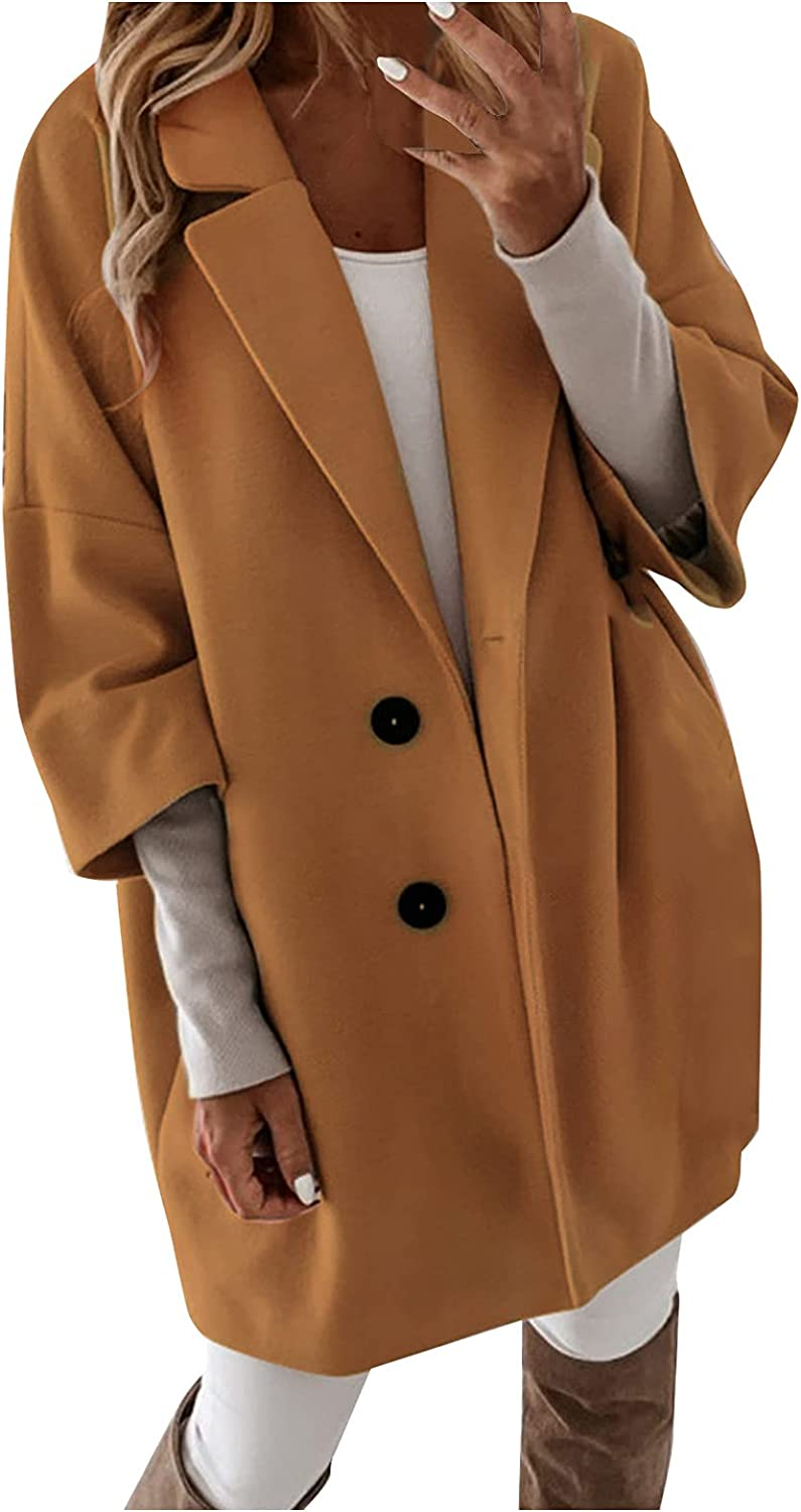 Winter Coats for Women Artificial Wool Trench Jacket Single Breasted Elegant Slim Pea Mid-Length Outerwear Pea Coat