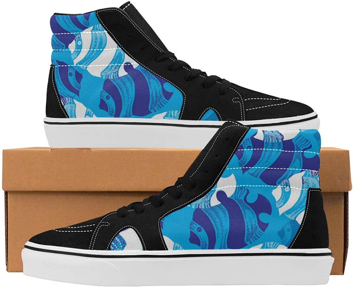 Women's High Top Canvas shoes Trainers Sneakers Casual Comfort shoes bluee Fish Prints
