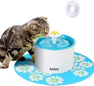 AOLVO Fontanella Gatti con Tappetino in Silicone Distributore Acqua per Gatti e Cani 1.6L Grande capacità Fontana per Gatti con 2 Filtri Sostituibili Abbeveratoio Gatti Automatico e Silenzioso (Blu)