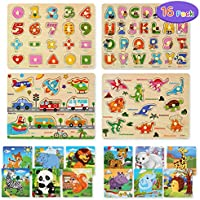 16-Pack Cute Stone Wooden Alphabet & Numbers Jigsaw Puzzles