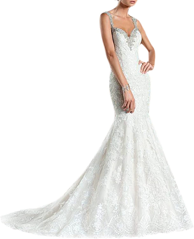 Women's Lace Mermaid Backless Spaghetti Straps Crystal Beaded Wedding Dress