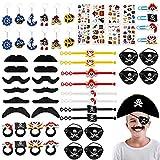 JOYUE 60 unidades de juguetes piratas para fiestas de cumpleaños infantiles, incluye parches para los ojos, bigotes, pulseras, llaveros, tatuajes, horquillas, anillos.