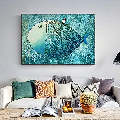 SWECOMZE Ölgemälde, Fisch Wandbilder handgemalt auf rahmenloser Leinwand, Vlies Leinwand - Kunstdrucke (70 x100 cm)