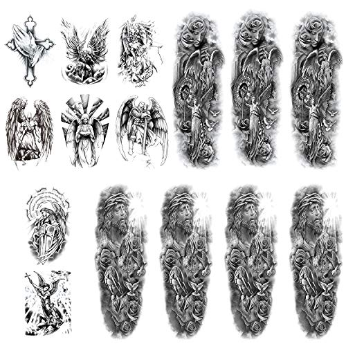 Sleeve Temporary Tattoos Holy God for Men and Women 15 Sheets,Blessing and Asylum Type Large Waterproof Realistic Fake Tattoos