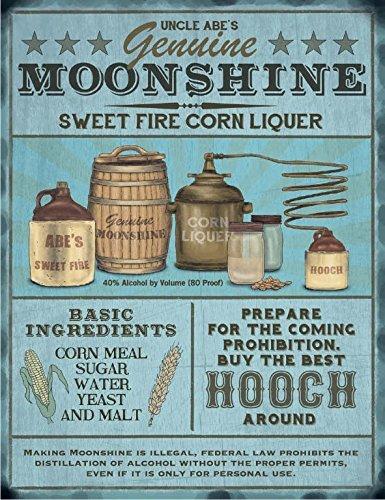 Moonshine Liquer Brewing Pub Bar Man Cave Shed Advertising Small dangler metal sign