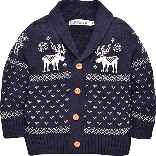 ZOEREA Toddler Unisex Baby Button-up Cotton Coat Deer Christmas Cardigan Sweater (Label 80/Age 12-18 Months, Navy)