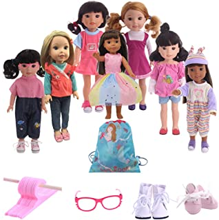 Luckdoll Lot 18 Items 7 Dolls Outfits, 2 Shoes, 2 Glasses, 7 Hanger for 14 Inch Wellie Wishers American Girl Doll Birthday Party Gift