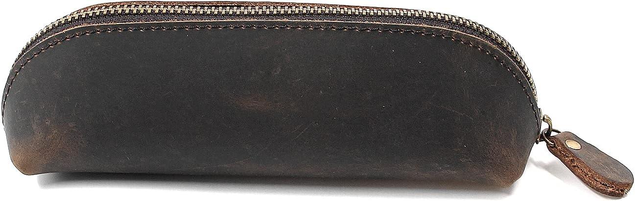 Vintage Leather Pencil Case with Zipper Indefinitely Genuine 5 popular Leathe Handmade