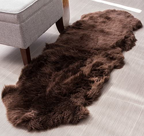 Super Area Rugs Genuine Sheepskin Rug 2x6 Soft Natural Bedside Area Rug Dark Brown Double Pelt product image