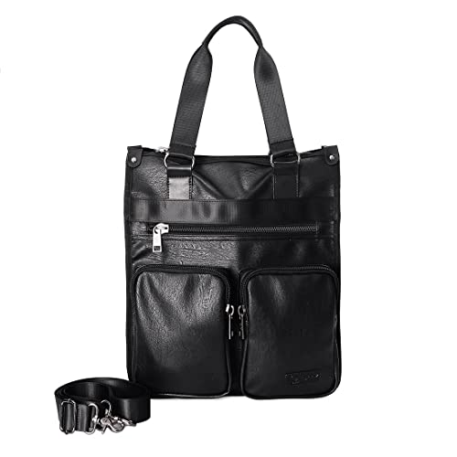 cee1dc5f22 PU Leather Vertical Messenger Bag for 15.6