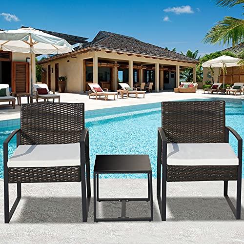 Topchances Juegos de muebles de patio al aire libre, 3 piezas de sofá de ratán con 2 sillones y 1 mesa para interior y exterior, patio, balcón, jardín al aire libre, 3 piezas (marrón)