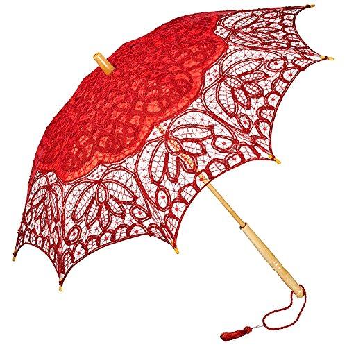 VON LILIENFELD Hochzeitsschirm Brautschirm Vivienne Battenburg Spitze Deko Sonnenschirm Accessoire rot