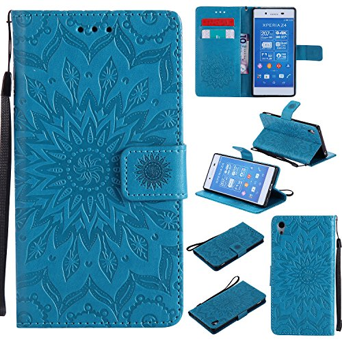 YYhin Schutzfolie für Sony Xperia Z4/Xperia Z3 Plus/E6533 hülle, Cartera Wallet Leder abnehmbare magnetische abnehmbare Tasche mit Flip Schutzhülle Case.(Blau)