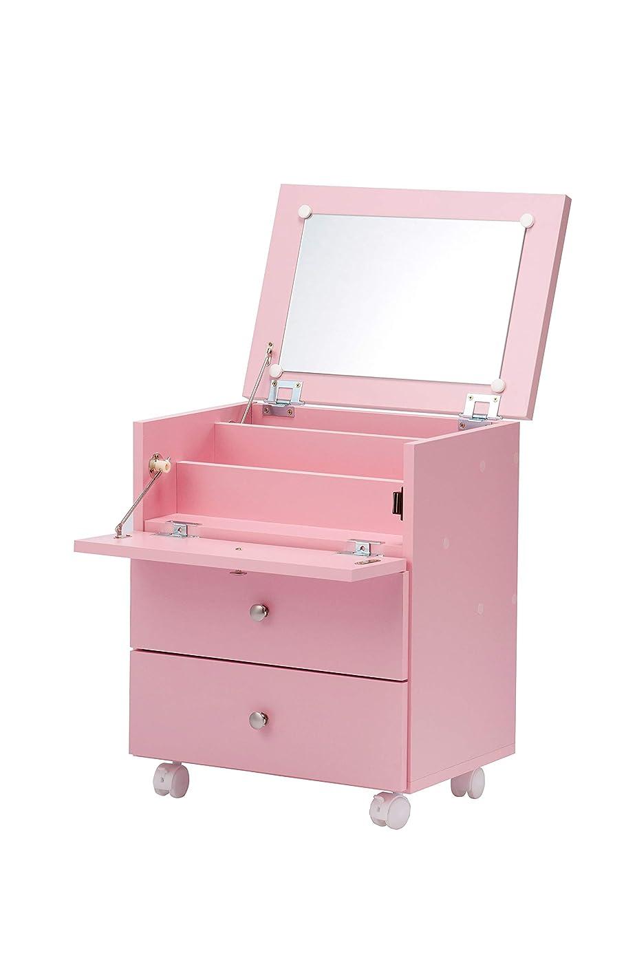 闇タヒチ明確にドレッサー 高さ53cm 鏡台 メイクボックス キャスター付 N-3103 ピンク 完成品