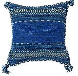 クッションカバー 手織り キリム 綿素材 45x45cm ブルー エスニック アジアン インド製 (ブルー)の写真