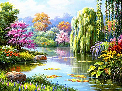 5D DIY Diamond Painting by Number Kit Forest River Square Drill,120x90cm Adults and Kids Full Drill Beads Crystal Rhinestone Embroidery Cross Stitch Supplies Arts Craft for Home Wall Decor U3579
