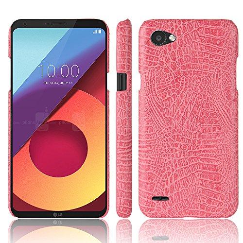 Para LG Q6 capa de couro sintético com estampa de crocodilo (rosa)