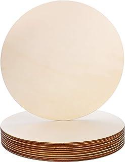 Cercle en bois,10 pièces de 20 cm en bois brut vierge pour travaux manuels, plaque ronde en bois,disques en bois fins,rond...