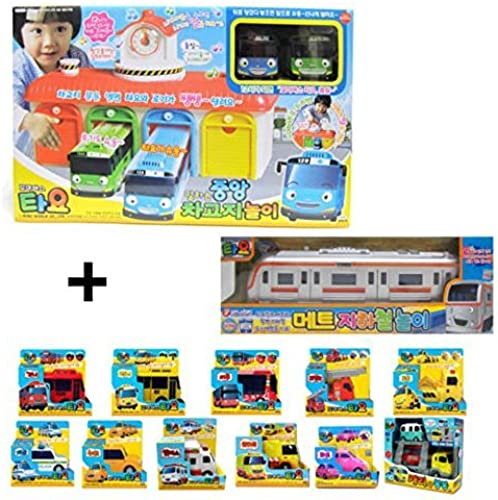 Mimiworld Tayo the Little Bus Main Garage with 15 Cars including Subway Model of Tayo Full Set Toy by Mimi World