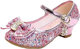 Disfraz Princesa Zapatos Zapatillas de Lentejuelas Antideslizante Niñas Zapatos de Tacón Zapatillas de Baile para Vestir F...